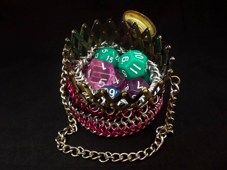- Black Chainmaille Bag with Gate Style Closure Chainmail Dice Bag Small Pink and White