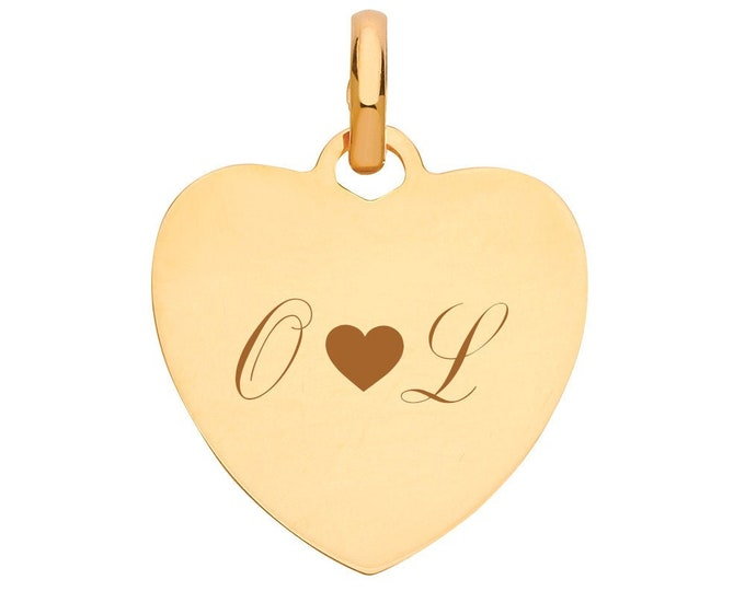 Personalised 9ct Gold 1.6cm Heart Tag Pendant Hallmarked - Customised Engraved 3 Characters