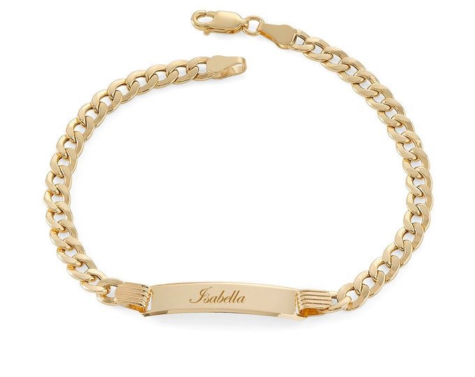 "Ladies 9ct Yellow Gold 7"" Curb Chain ID Bracelet 4.0g - Personalised Engraved Name"