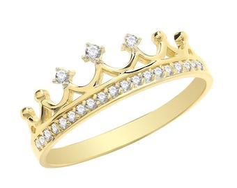 Ladies 9ct Yellow Gold Cz Royal Crown Ring Hallmarked - Real 9K Gold