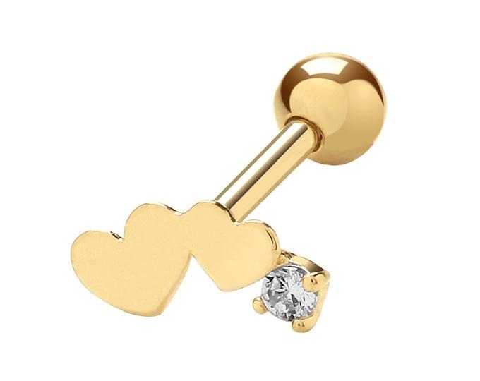 9K Yellow Gold Cz Love Hearts Cartilage 6mm Bar Single Stud Screw Back Earring