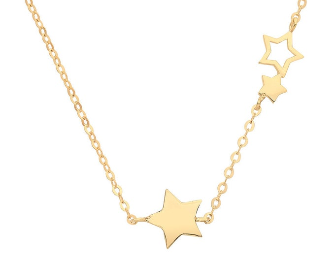 "9ct Yellow Gold Interstellar Star Trilogy on Adjustable 16""-18"" Necklace"