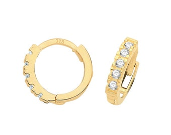 9ct Yellow Gold Half Cz Claw Set 8mm Diameter Hinged Hoop Earrings - Real 9K Gold