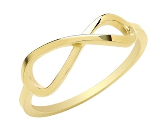 Ladies 9ct Yellow Gold Sideways Infinity Ring Hallmarked 375 - Real 9K Gold