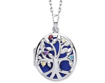 Sterling Silver Tree of Life Oval Shaped 2 Photo Locket With Multi Coloured Cz Stones