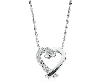 "9ct Gold Cross My Heart 0.05ct Diamond Set Pendant on 18"" Necklace"