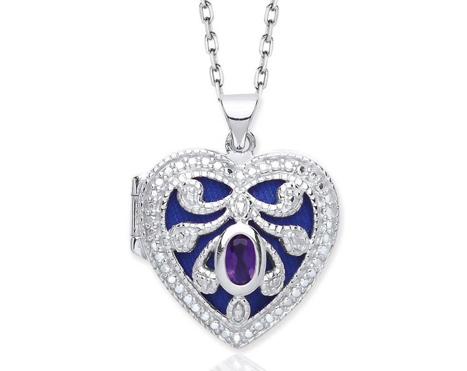 Sterling Silver Cut Out Scroll Heart Shaped 2 Photo Locket With Purple Oval Cz Stone
