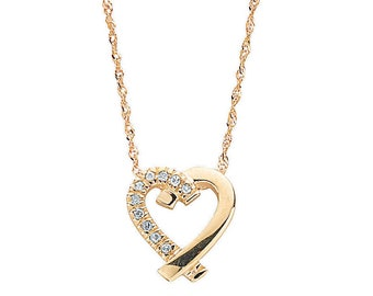 "9ct Gold Yellow Gold Cross My Heart 0.05ct Diamond Set Pendant on 18"" Necklace"