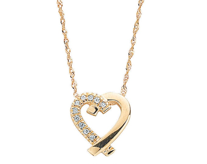 "9ct Gold Yellow Gold Cross My Heart 0.05ct Diamond Set Pendant on 18"" Necklace - Real 9K Gold"