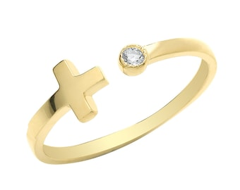 Ladies 9ct Yellow Gold Sideways Cross & Rubover Cz Torque Ring Hallmarked 375 - Real 9K Gold