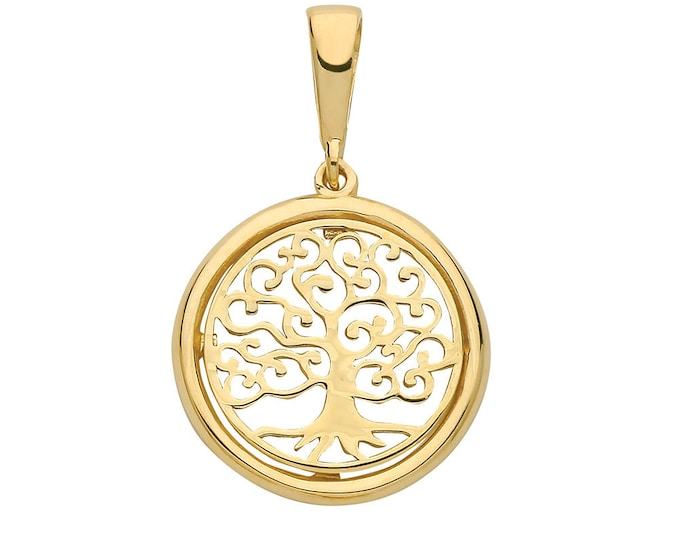 9ct Yellow Gold Round Filigree Design Cut Out Tree of Life Pendants