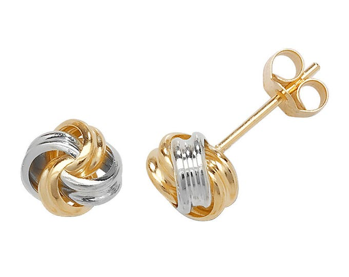 9ct 2 Colour Gold 5mm Twisted Ribbon Knot Stud Earrings - Real 9K Gold