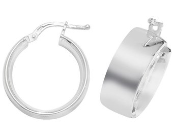 925 Sterling Silver Plain Polished 8mm Wide Flat Hoop Earrings - Choice of sizes