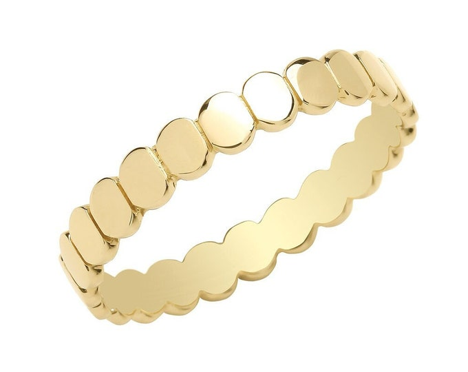 Ladies 9ct Yellow Gold 3mm Plain Polished Flat Oval Disc Ring Hallmarked 375 - Real 9K Gold