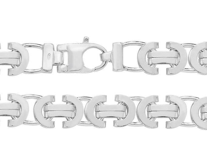 """Gents Solid 925 Sterling Silver 8.5"""" Chunky Flat Byzantine Bracelet Hallmarked"""