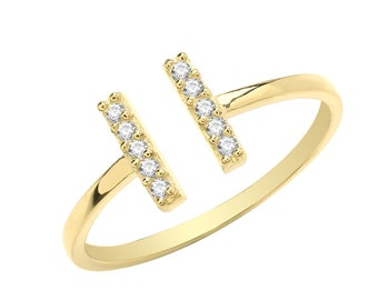 Ladies 9ct Yellow Gold Cz Pave Set T Bar Torque Ring Hallmarked 375 - Real 9K Gold