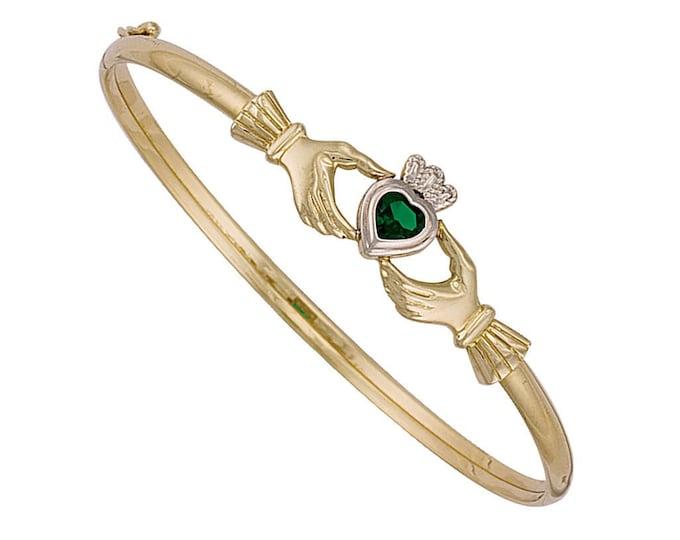 Ladies 9ct Yellow Gold Irish Claddagh Bangle With Green Heart Cz Hallmarked