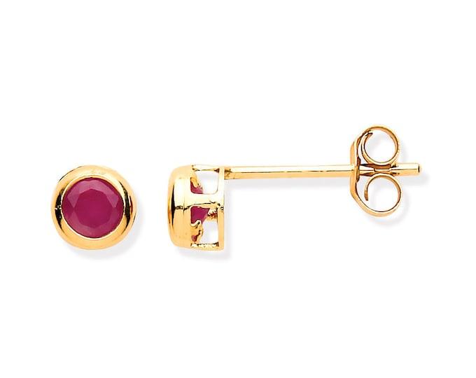 Ruby Stud Earrings - 9ct Yellow Gold 3mm Real Red Rubies Stud Earrings