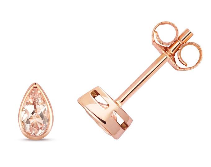 Pear Cut Pink Morganite 5x3mm Rubover Set Stud Earrings 9ct Rose Gold Real Morganite