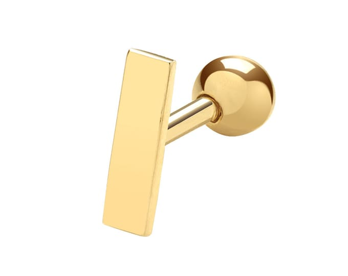 9ct Yellow Gold Plain Gold Bar 6mm Post SINGLE Cartilage Stud Screw Back Earring - Real 9K Gold