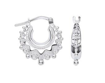 925 Sterling Silver 15mm Hollow Gypsy Creole Spike Hoop Earrings
