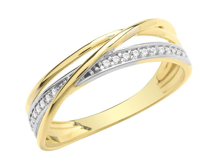 Ladies 9ct Yellow Gold Cz Crossover Eternity Ring Hallmarked - Real 9K Gold
