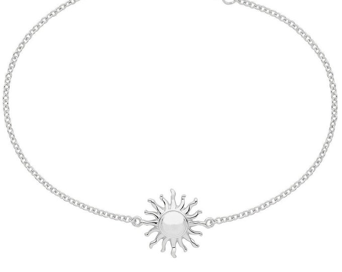"925 Sterling Silver Sunburst 7"" Bracelet Rhodium Plated"