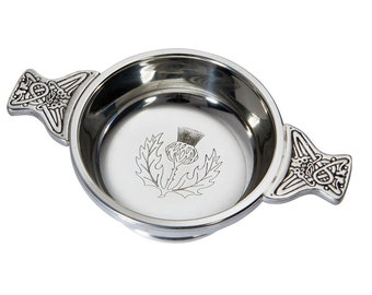 Personalised Scottish Thistle Pewter Quaich Bowl Customised Engraved Message
