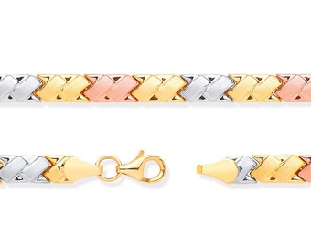 "Ladies 9ct 3 Colour Rose Yellow White Gold Double Kisses Link 7"" Bracelet Hallmarked"