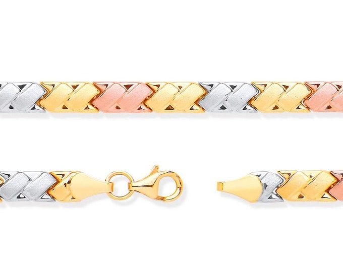 """Ladies 9ct 3 Colour Rose Yellow White Gold Double Kisses Link 7"""" Bracelet Hallmarked - Real 9K Gold"""