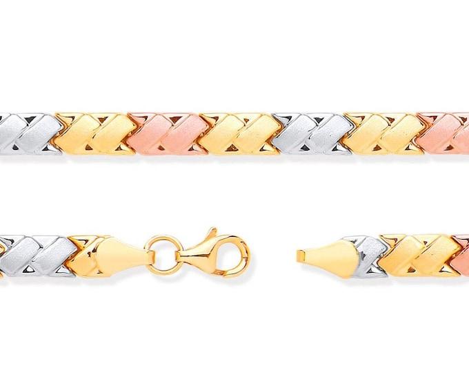 "Ladies 9ct 3 Colour Rose Yellow White Gold Double Kisses Link 7"" Bracelet Hallmarked"