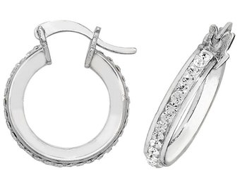 925 Sterling Silver Hoop Earrings Channel Set Round Crystals 10mm 15mm 20mm 25mm 30mm 40mm