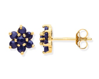 Blue Sapphire Cluster Stud Earrings - 9ct Yellow Gold 4.5mm Real Sapphire Flower Earrings
