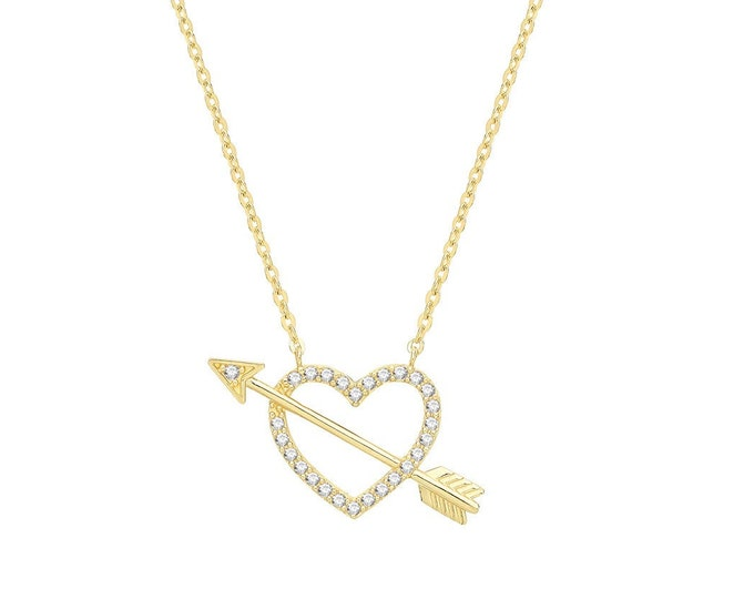 """9ct Yellow Gold Cz Cupid Arrow & Heart Charm Chain 15.5"""" to 17.5"""" Necklace Hallmarked - Real 9K Gold"""
