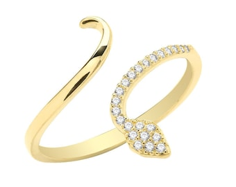 Ladies 9ct Yellow Gold Cz Pave Set Open Coil Snake Ring Hallmarked 375 - Real 9K Gold