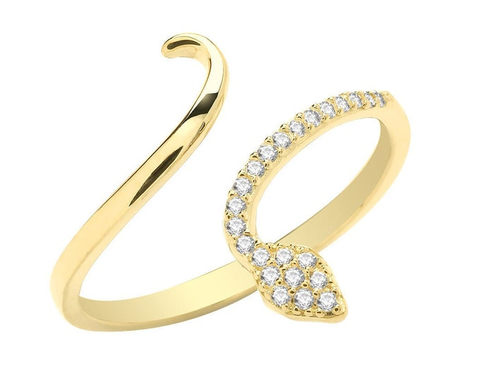 Ladies 9ct Yellow Gold Cz Pave Set Open Coil Snake Ring Hallmarked 375