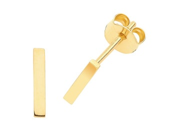 9ct Yellow Gold 8x2mm Plain Polished Gold Bar Stud Earrings - Real 9K Gold