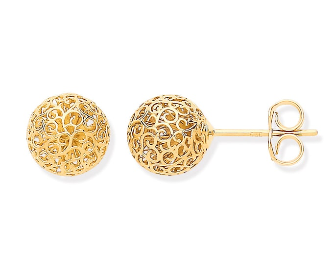9ct Yellow Gold 8mm Diameter Cut Out Filigree Design Round Ball Stud Earrings