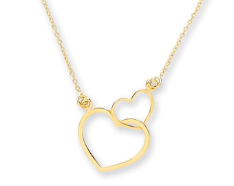 """9ct Yellow Gold Entwined 2 Hearts Pendant on Adjustable 16""""-18"""" Rolo Chain Necklace- Solid 9K Gold"""