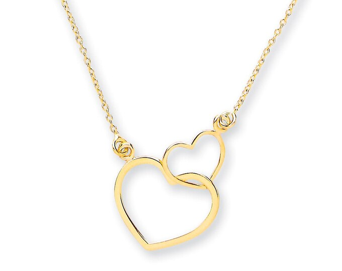 "9ct Yellow Gold Entwined 2 Hearts Pendant on Adjustable 16""-18"" Rolo Chain Necklace- Solid 9K Gold"
