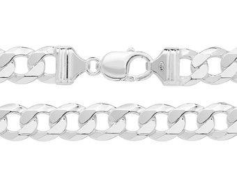 925 Sterling Silver Chunky 10mm Flat Curb Chain Necklaces - Choice of Lengths