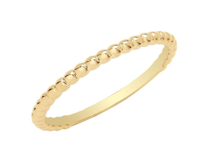 Ladies 9ct Yellow Gold 1.6mm Plain Polished Bobble Bead Ribbed Ring Hallmarked 375 - Real 9K Gold