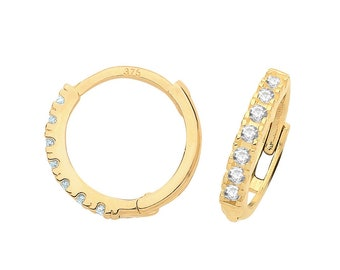 9ct Yellow Gold Half Cz Claw Set 9mm Diameter Hinged Hoop Earrings - Real 9K Gold