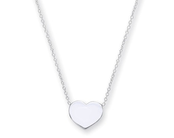 """925 Sterling Silver Small 8mm Heart Disc Pendant on 17"""" Necklace"""