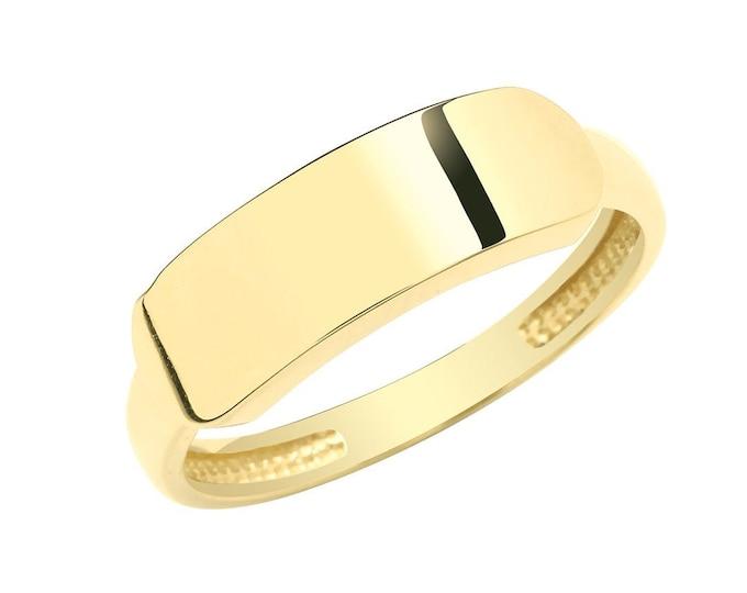 9ct Yellow Gold 2mm Band Plain Rectangular ID Signet Ring Hallmarked - Real 9K Gold