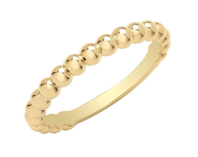 Ladies 9ct Yellow Gold 2.5mm Plain Polished Bobble Bead Ribbed Ring Hallmarked 375 - Real 9K Gold