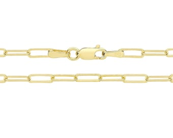 9ct Yellow Gold 2.1mm Wide Paperclip Link Chain Necklaces Hallmarked - 9K Gold