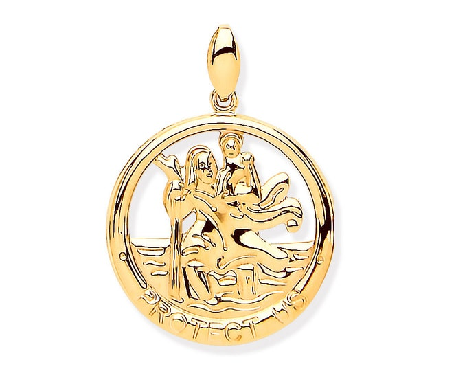 9ct Gold 1.2cm Round Cut Out St Christopher Protect Us Charm Pendant