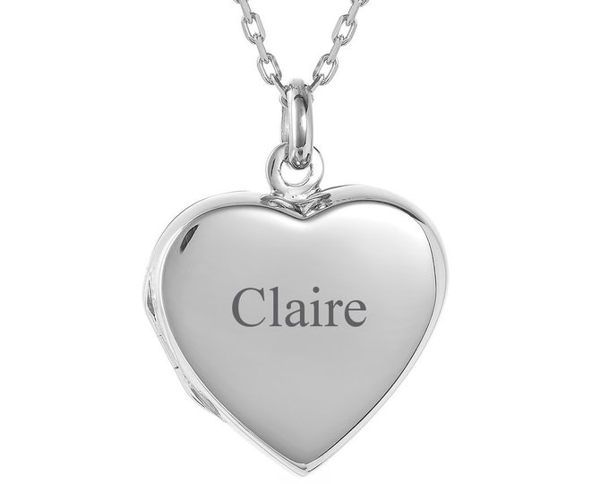 Personalised Sterling Silver 2 Photo Flat Heart Locket - Engraved Name, Initials or Message