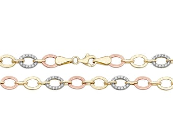 "Ladies 9ct Yellow White & Rose Gold Cz Oval Link 17"" Necklet Hallmarked"